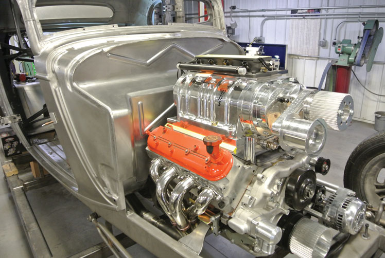14 Classic Hotrod with an Supercharged LS Swap and a custom recessed firewall fitted