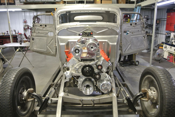 16 1934 ford five window coupe recessed fitted with a Texas Speed Crate LS with a supercharger