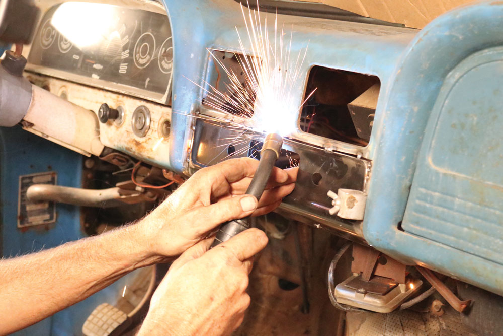 Weld-radio-patch-panel-install-brothers-truck-Chevy-GM