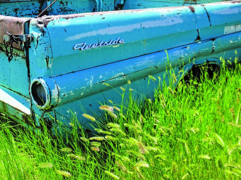 002 Old 1958 Chevy Fleetside truck at a junkyard