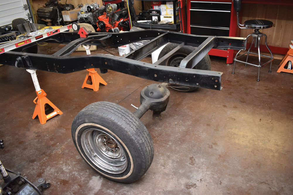 004 Ford F-100 Chassis bare before installing Heidts rear suspension kit