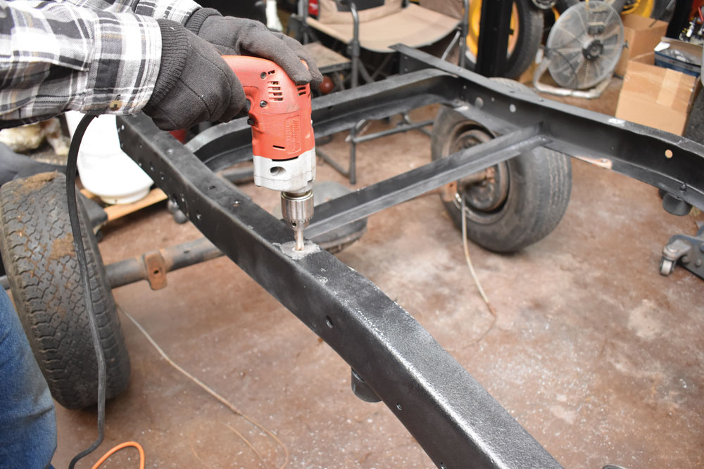 011 Drilling out to modify chassis of a 1956 Ford F-100