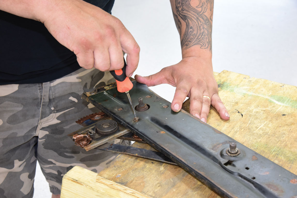 014 removing old hardware on window panel frame for a classic truck