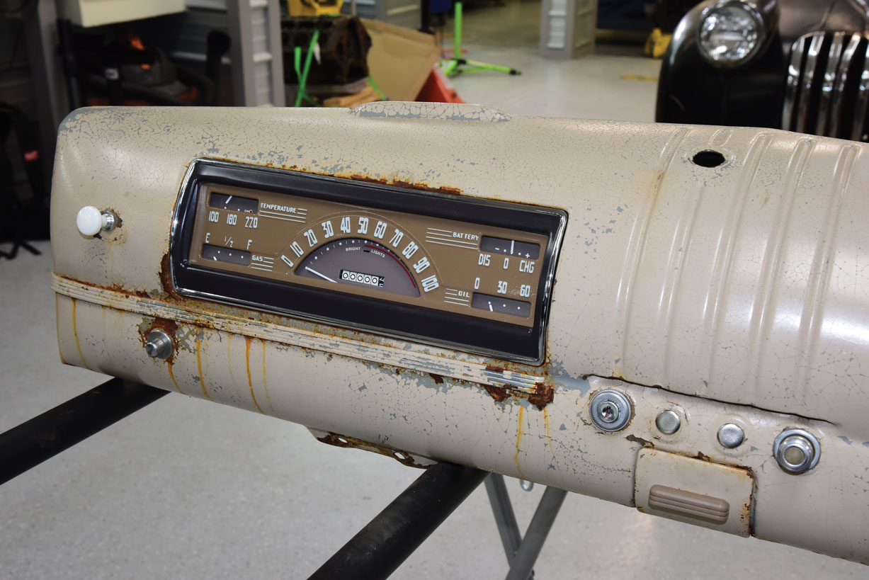 033 new instrument cluster gauge on a 1946 chevy truck