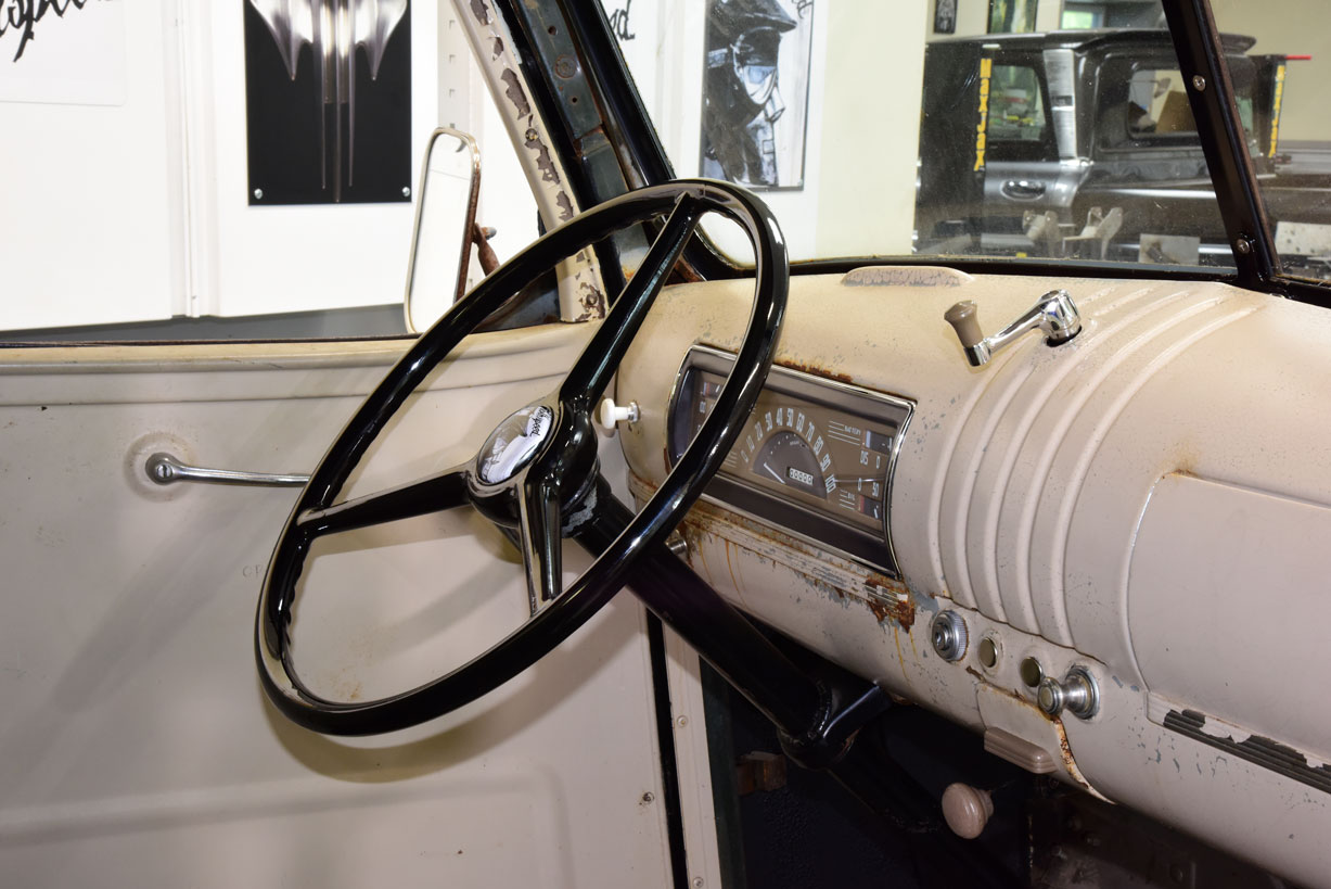 037 final look at new dash components and steering wheel in a classic truck interior