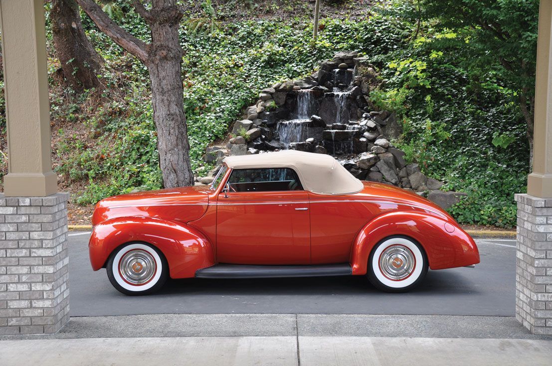 05 Supercharged V8 paired to a borge warner T5 transmission in a 1939 Ford Convertible lowered on QA1 coilovers with Rallye Wheels