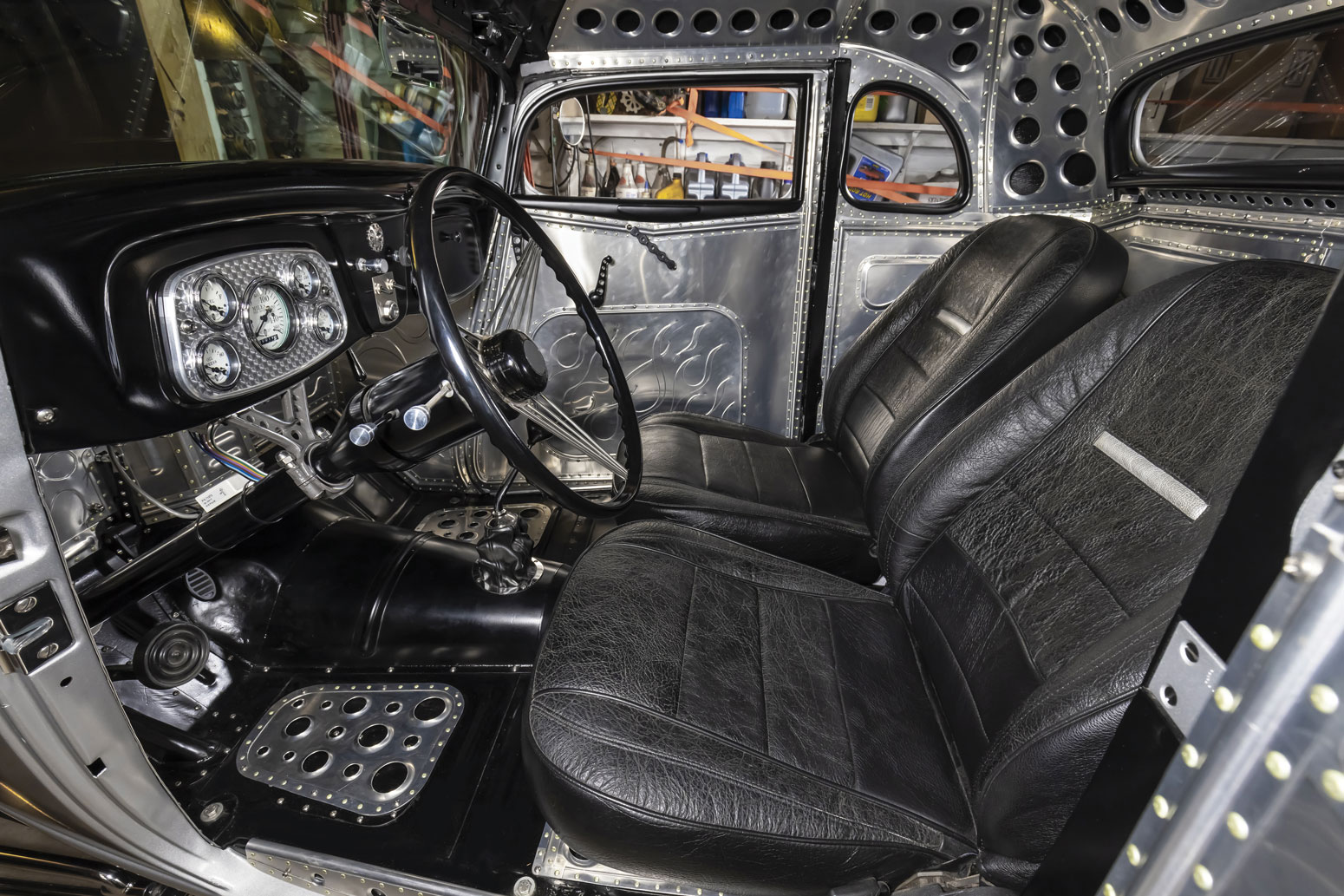 10 1934 Ford Five-Window Coupe Custom Interior, Lokar Shifter with thermal coating