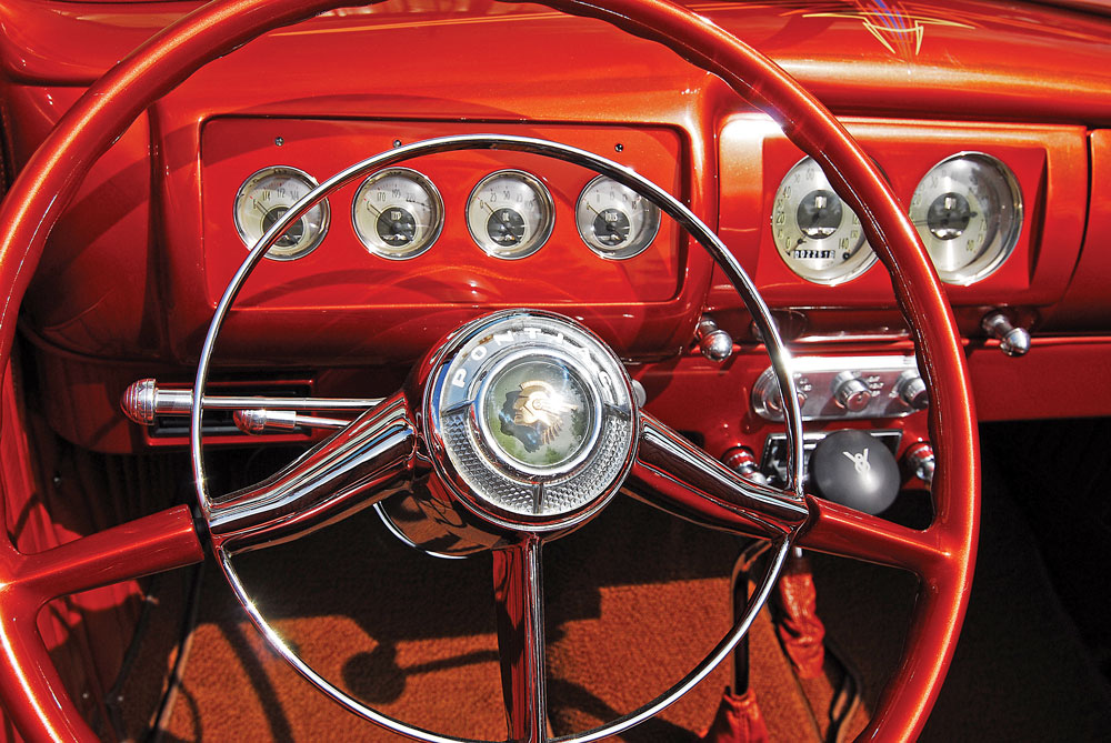 11 Classic Hot Rod 1939 Ford Convertible 1940 Ford dash with a classic instrument and a 1952 Pontiac steering wheel