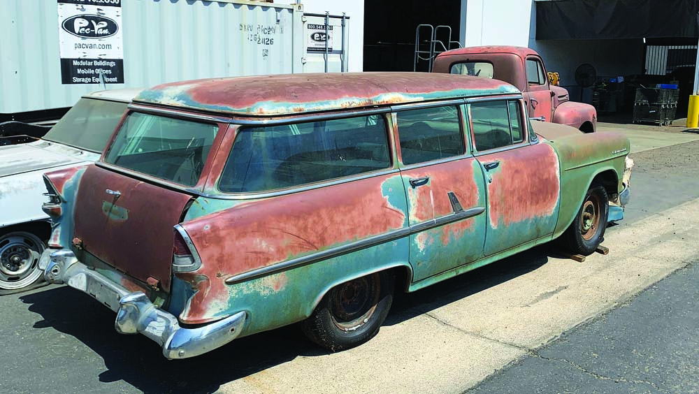 01 1955 Chevy Wagon ready for Spare Tire Delete