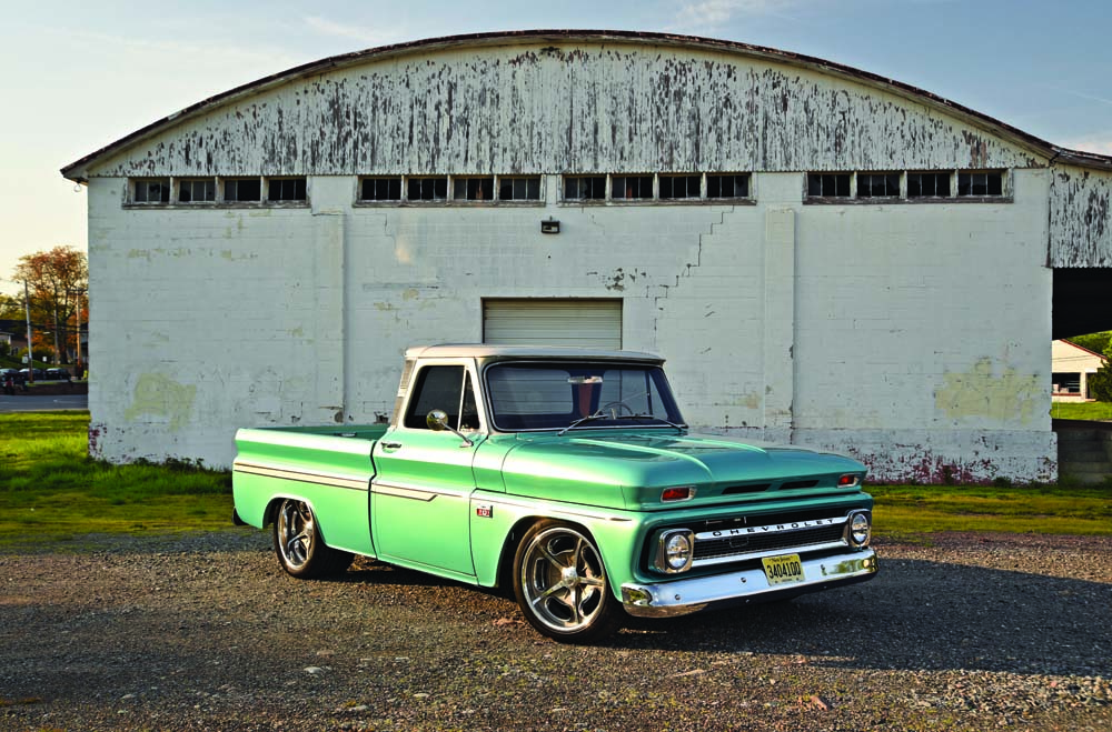 01 Classic hot rod 1966 Chevy C10 blue sky performance and restoration