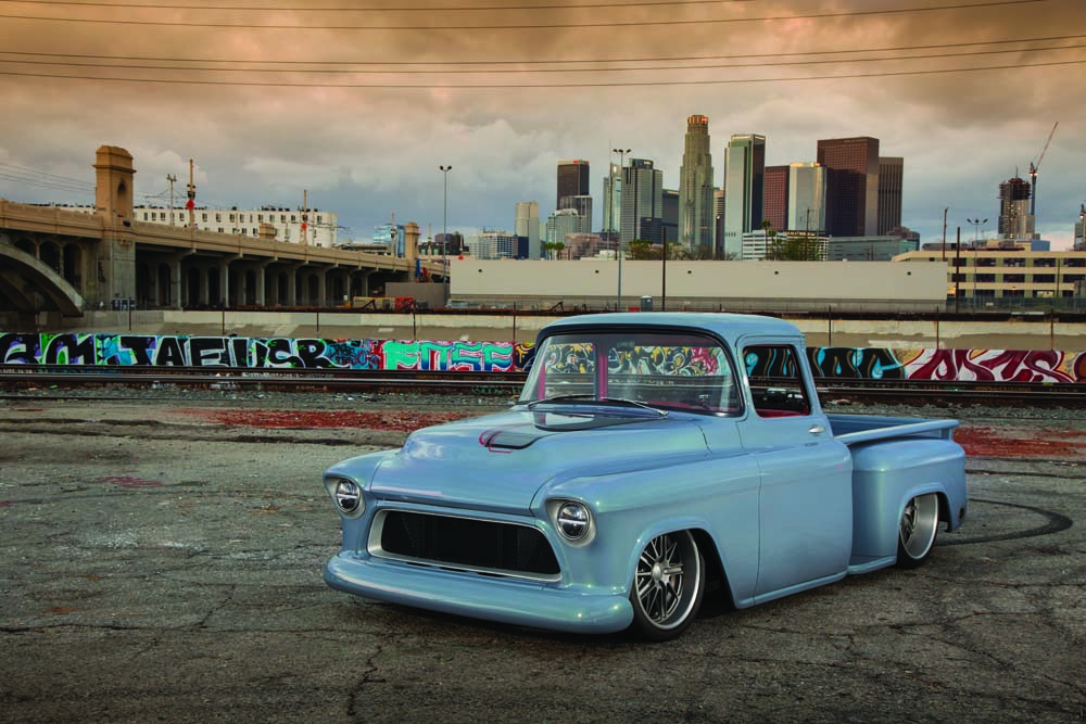 01 LS3 Powered Sonic Gray Pearl Tri-Five Chevy Truck