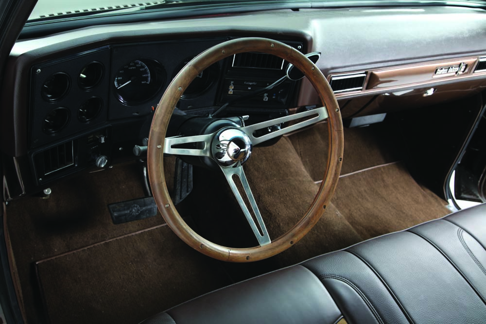 09 Custom interior with suede spanish gold seats in this classic truck
