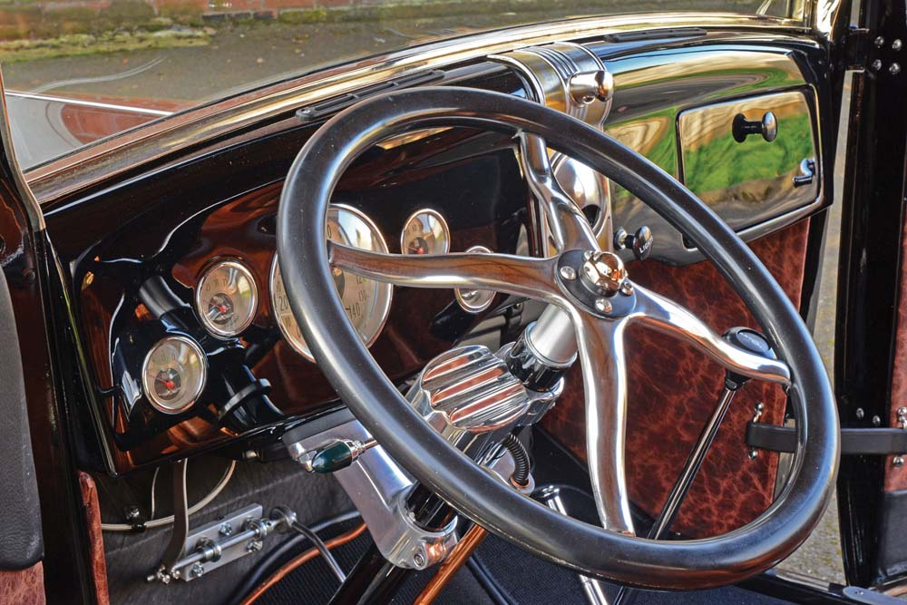 13 1936 Ford dash with Classic Instrument gauges and vintage air