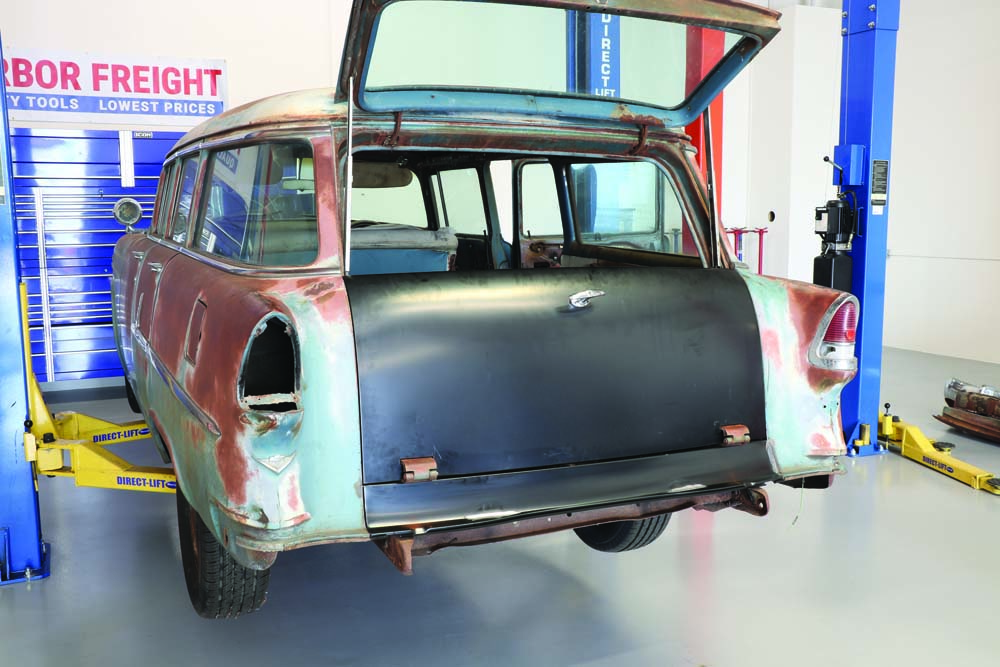 30 1955 Chevy Wagon tailgate installed with spare tire delete panel
