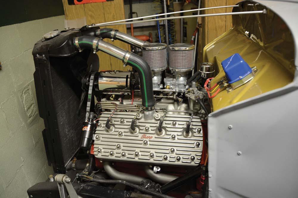 30 finished custom gas filler door with custom filler neck on a 1936 Ford Phaetom