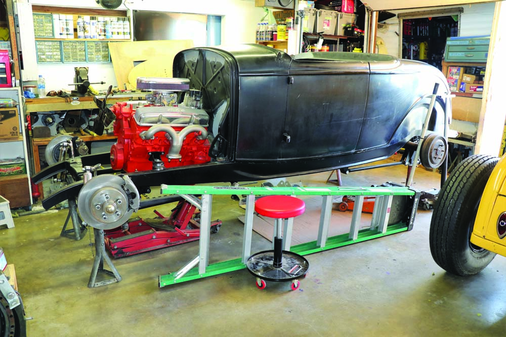 08 This hot rod model A uses parts from the 1932 Ford Roadster to test fit parts