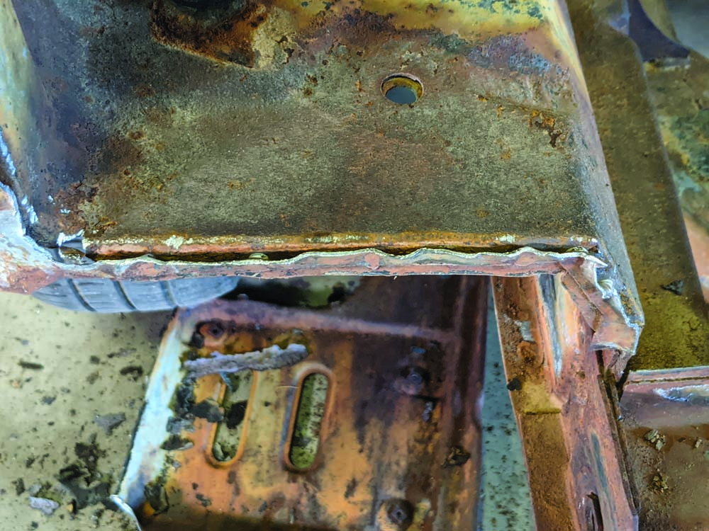 11 Removing the spot welds on the 1969 Ford